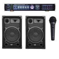 Zestaw KARAOKE wzmacniacz FM MP3 kolumny mikrofon