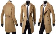 Płaszcz Męski Beżowy Długi Klapy XL