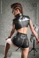 Skórzane spodenki zamek tył fetysz BDSM Missy
