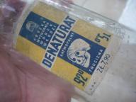 butelka etykieta stary denaturat napisy na szkle