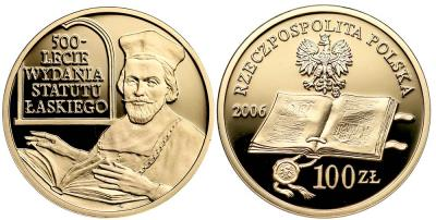 1569. ZŁOTO 100 zł 2006 Statut Łaskiego, st.L/L-