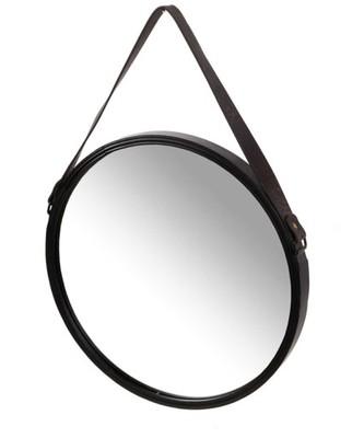 Lustro metalowe okrągłe na pasku czarne 40,5cm