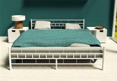 łóżko Metalowe 140x200 Stelaż Białe 503 6380770225