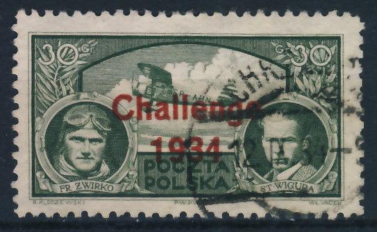 Poczta Polska 30 nadruk Challenge 1934
