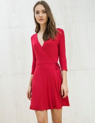 b4572559bb BERSHKA sukienka czerwona wiązana M 38 - 6903862112 - oficjalne ...