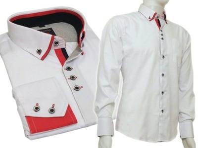 Elegancka koszula SLIM biała z ciemno czerwonymi odszyciami