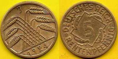 NIEMCY  5 Rentenpfennig  1924 r  J