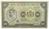 31.Luxemburg, 100 Franków 1934 rzadki, St.3+