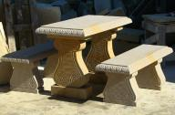 stół + 2 ławki z kamienia naturalnego piaskowiec