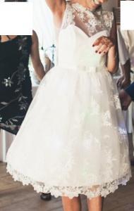 4bc17843de sukienka ślubna krótka cywilny ecru koronka 38 - 6020656932 ...