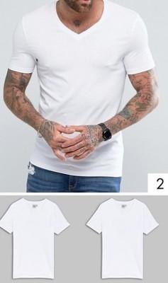 koszulka męska ex Asos T shirt 2 pak V neck S