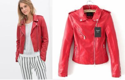 czerwona skórzana kurtka damska