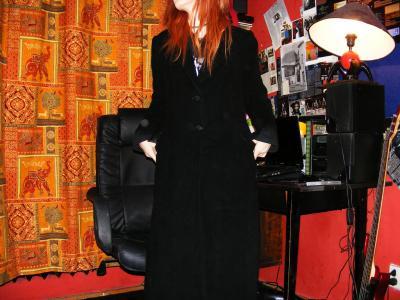 Długi czarny płaszcz maxi do ziemi gothic M 38