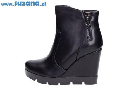 fd6a40f60394b Wygodne czarne botki VICES U503-1 KOTURNY r38 - 6216879187 ...
