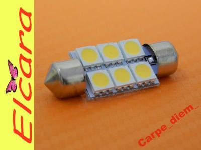 Rurka 39mm C5W C10W 6 LED SMD 5050 Ciepły