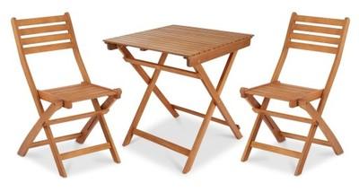 Meble Ogrodowe Drewniane 2 Krzesła Stół Składane