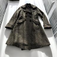 H&M tweedowy płaszcz dwurzędowy szynel wełna S