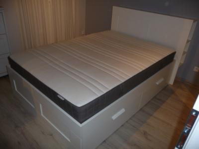 Brimnes Rama łóżka Z Zagłówkiem Materac Hovag 6015671298