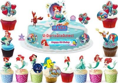 Opłatek Na Tort Mała Syrenka Ariel Cała Dekoracja 6789529041
