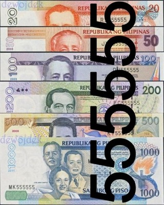 MAX - FILIPINY # kpl 20 -1000 Piso # nr 555555 UNC