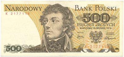2446. 500 zł 1974 - K - st.3