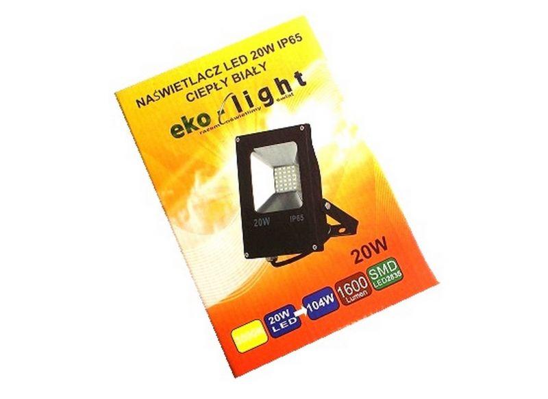NAŚWIETLACZ EKO-LIGHT LED 20W IP65 CIEPŁY BIAŁY