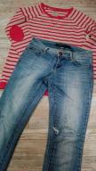 Zestaw Spodnie jeansy ONLY  +HOUSE bluza roz XS/34