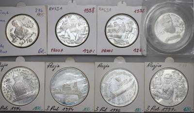 5252. Rosja, 8 szt. srebrnych monet od roku 1994