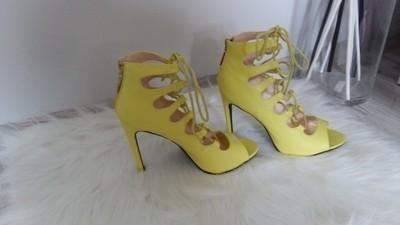 Żółte sznurowane sandałki szpilki gladiatorki 39