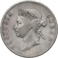 HONG-KONG 50 CENT 1894 ROK VICTORIA st.3 srebro