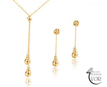 Komplet prezent ślub złoto łańcuszek kolczyki