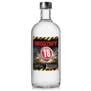 urodzinowe etykiety na ALKOHOL wódkę 18 urodziny