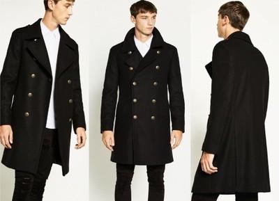 ZARA męski zimowy płaszcz militarny wełniany XL