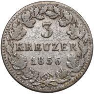044. Bawaria 3 krajcary 1856 st.4+