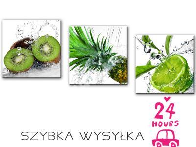Obrazy Owoce Zielone Tryptyk Obraz Kuchnia 120x40