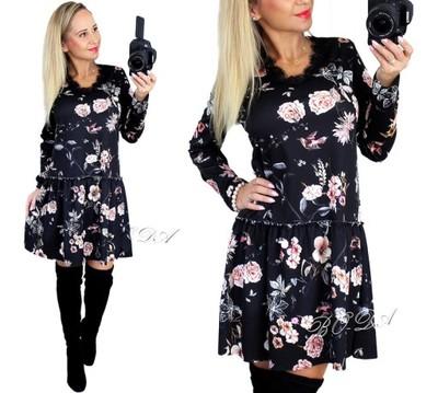Italy Wloska Czarna Jesienna Sukienka W Kwiaty 7006801368 Oficjalne Archiwum Allegro