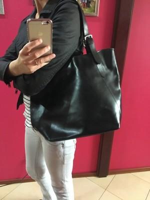 65653de24817f Torebka czarna Włoska Skóra naturalna shopper bag - 6995207345 ...