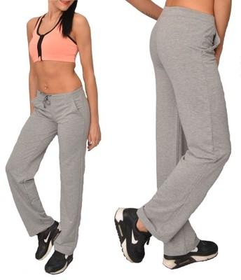 BAWEŁNIANE DAMSKIE spodnie DRESOWE fitness L szare