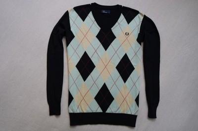 FRED PERRY sweter sweterek czarny logowany____M/L