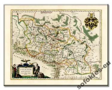 ŚLĄSK KSIĘSTWO ŚLĄSKIE  PIĘKNA MAPA 1650 r. płótno