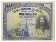 16.Hiszpania, 1 000 Peset 1928 rzadszy, St.3+