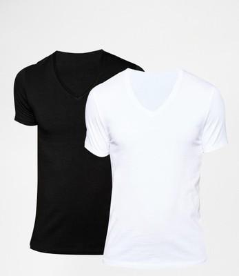 AA27 bluzki ex ASOS 2 pak t - shirt biel i czerń S