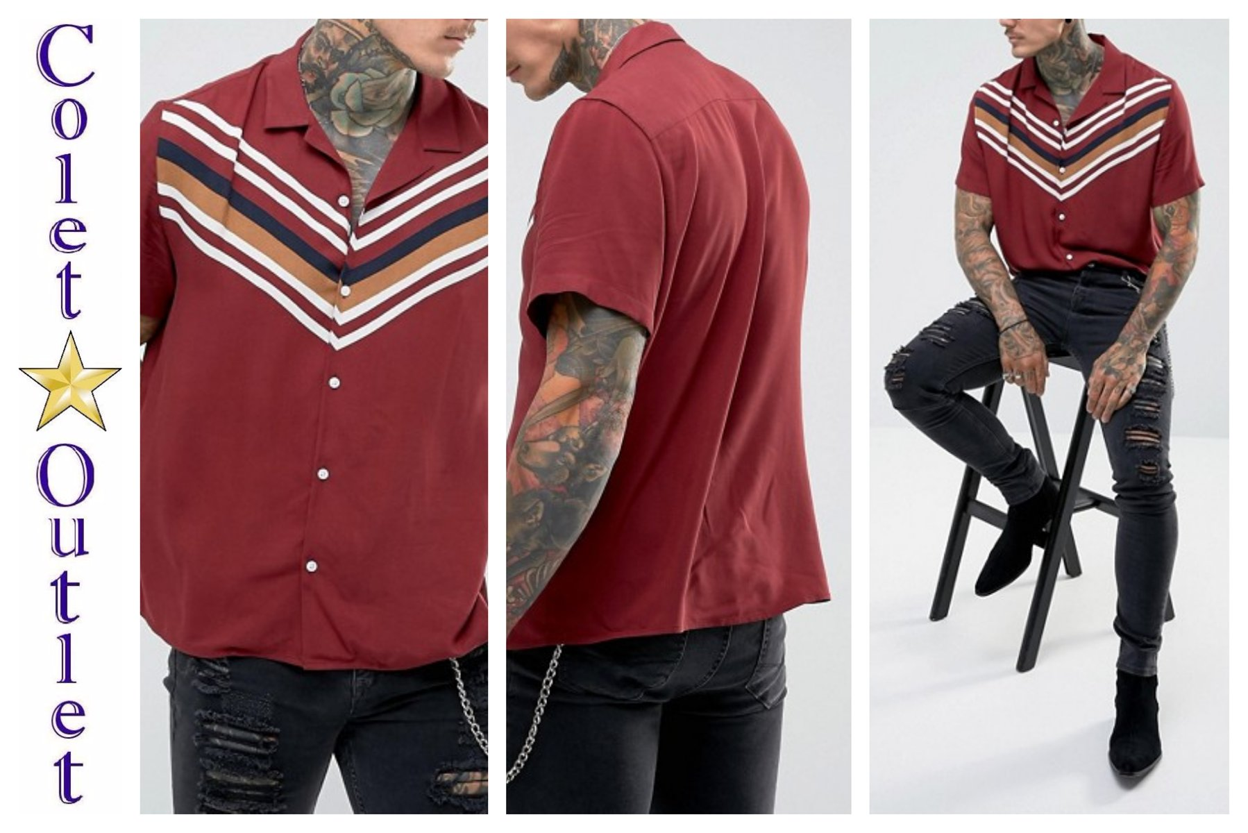 mp42 koszula burgundowa bordowa regular paski M