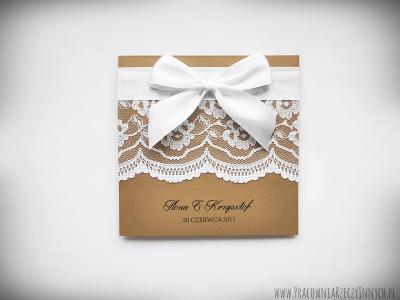 Rustykalne Zaproszenia ślubne Z Koronkami 6534766356 Oficjalne
