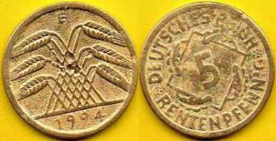 NIEMCY  5 Rentenpfennig  1924 r  E