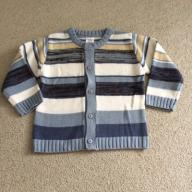 Sweterek rozpinany guziki paski niebieski 80