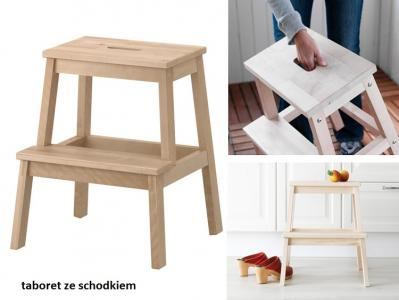 Taboret Kuchenny Składany Drewniany Ze Schodkiem 6027411091