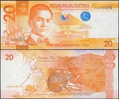 MAX - FILIPINY 20 Piso # ALE NUMER FX000081 # UNC