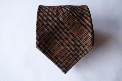 Szkocki Brązowy Pomarańczowy Kaszmirowy Krawat