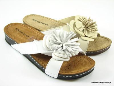 8c9c906bc4078 Komfortowe klapki damskie z kwiatkiem Syrena - 5395608463 ...